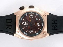 Fake Cool Bell & amp; Ross BR02 Instrument Diver Automatic Rose Glod zaak AAA Horloges [ O7F2 ]