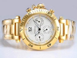 Fake Cool Cartier Pasha Chronograph Automatic Gold met witte wijzerplaat AAA Horloges [ G2B6 ]
