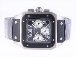 Fake Fancy Cartier Santos 100 Chronograph Automatic met Black Dial- Rubber Strap AAA Horloges [ A8V7 ]