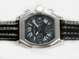 Fake Gorgeous Cartier Roadster Chronograaf met Black Dial- Deployment AAA Horloges [ X6G6 ]