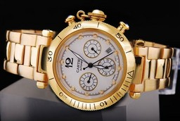Fake Modern Cartier Pasha Chronograph Automatic Gold met witte wijzerplaat AAA Horloges [ L5Q3 ]