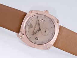 Fake Modern Emporio Armani Rose Gouden Kast Met Champagne Dial AAA Horloges [ P2E5 ]