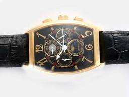 Fake Fancy Franck Muller Chrono Banker Moonphase Chronograph Automatic Gold AAA horloges [ A8B2 ]