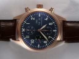 Fake Fancy IWC Pilot Chronograph Movement Rose Gouden Kast AAA horloges [ R6O3 ]