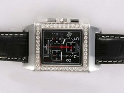 Fake Fancy Jaeger - Lecoultre Reverso Werken Chronogragh met Diamond Bezel AAA Horloges [ W2J1 ]