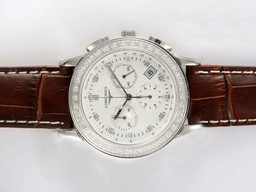 Fake Cool Longines Clous de Paris Chronograph Diamond AAA Horloges [ P4S7 ]