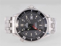 Fake Gorgeous Omega Seamaster Professional GMT met zwart golvend Dial- dezelfde structuur als AAA Horloges [ B1N5 ]