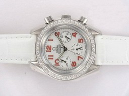 Fake Gorgeous Omega Speedmaster Chronograph Automatic Diamond Bezel met White Dial AAA Horloges [ A9H3 ]
