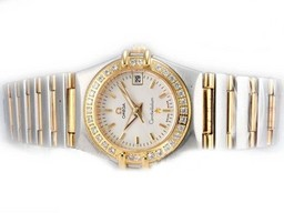 Fake Perfect Omega Constellation Two Tone Diamant Bezel Met Witte Wijzerplaat - Lady Size AAA Horloges [ W7J5 ]