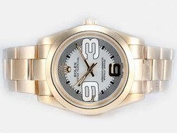 Fake Cool Rolex Air -King Oyster Perpetual Automatische Two Tone Met Beige Dial AAA Horloges [ X8M5 ]