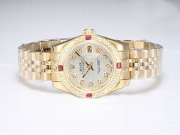 Fake Cool Rolex Datejust Automatic Gold Diamond Markering en Bezel AAA Horloges [ X3I7 ]