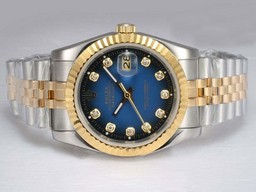 Fake Cool Rolex Datejust Automatic Two Tone met Blue Dial AAA Horloges [ Q7C3 ]
