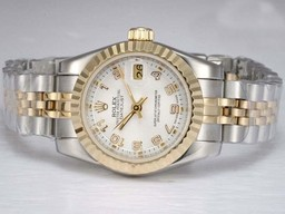 Fake Cool Rolex Datejust Automatic Two Tone Met Witte Wijzerplaat AAA Horloges [ N4S5 ]