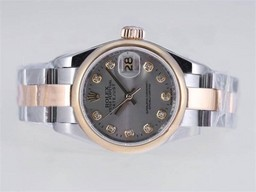 Fake Cool Rolex Datejust Beweging Two Tone Diamond Markering AAA Horloges [ O6W5 ]