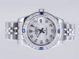 Fake Fancy Rolex Datejust Automatic Blue Diamond Bezel met Silver Dial AAA Horloges [ B9G1 ]