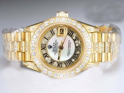 Fake Gorgeous Rolex Datejust Automatic Gold met Diamond Bezel en Markering AAA Horloges [ O1T2 ]