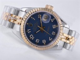 Fake Perfect Rolex Datejust Beweging Two Tone met Blue Dial- Nummer Markering AAA Horloges [ F6C3 ]