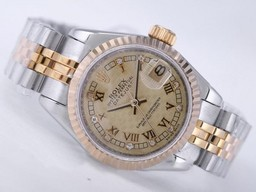 Fake Perfect Rolex Datejust Beweging Two Tone met Champagne Dial AAA Horloges [ I5A4 ]