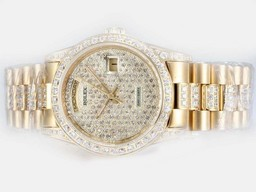 Fake Populaire Rolex Day-Date Automatic Gold met Diamond Bezel en Dial AAA Horloges [ L9P7 ]