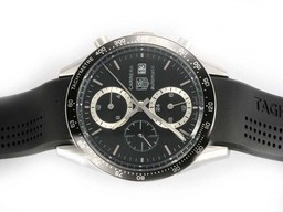 Fake Cool Tag Heuer Carrera Chronograph Automatic met Black Dial- Deployment AAA Horloges [ D5G5 ]