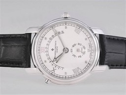 Fake Fancy Vacheron Constantin Patrimonium Day-Date flyback Met Witte Dial AAA Horloges [ O1A8 ]