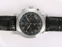 Fake Modern Zenith Port Royal Chronograph Automatic Moonphase met zwarte wijzerplaat AAA Horloges [ B5T3 ]
